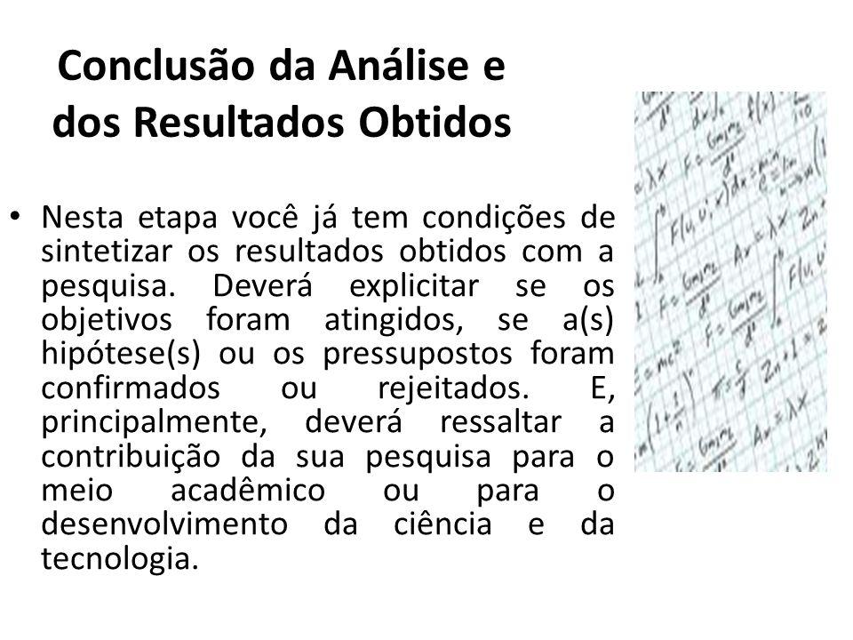 Conclusão da Análise e dos Resultados Obtidos