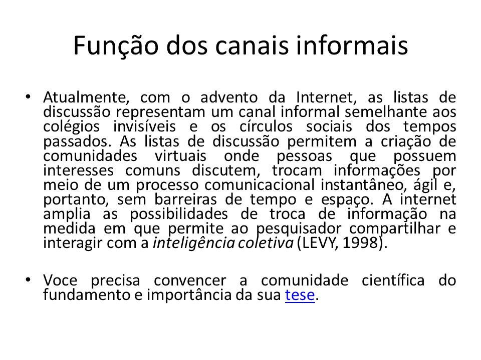 Função dos canais informais