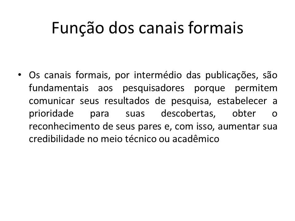 Função dos canais formais