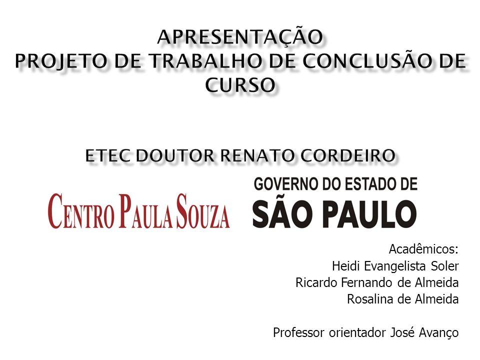 Apresentação Projeto de Trabalho de Conclusão de Curso ETEC Doutor Renato Cordeiro