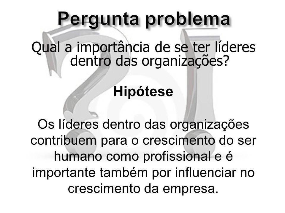 Pergunta problema Qual a importância de se ter líderes dentro das organizações Hipótese. Os líderes dentro das organizações.