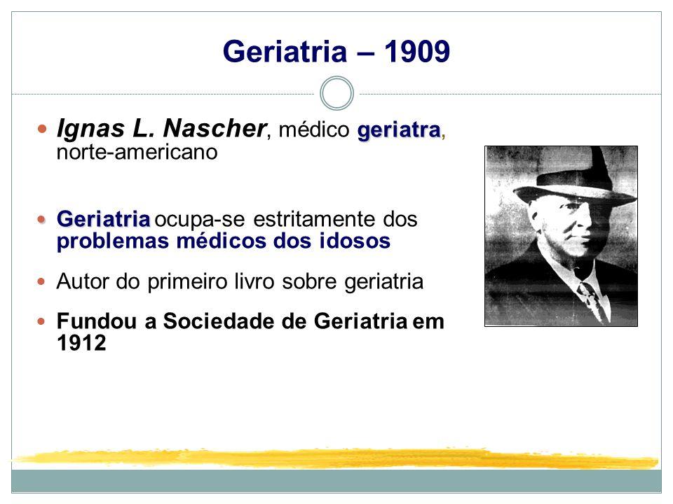Geriatria – 1909 Ignas L. Nascher, médico geriatra, norte-americano