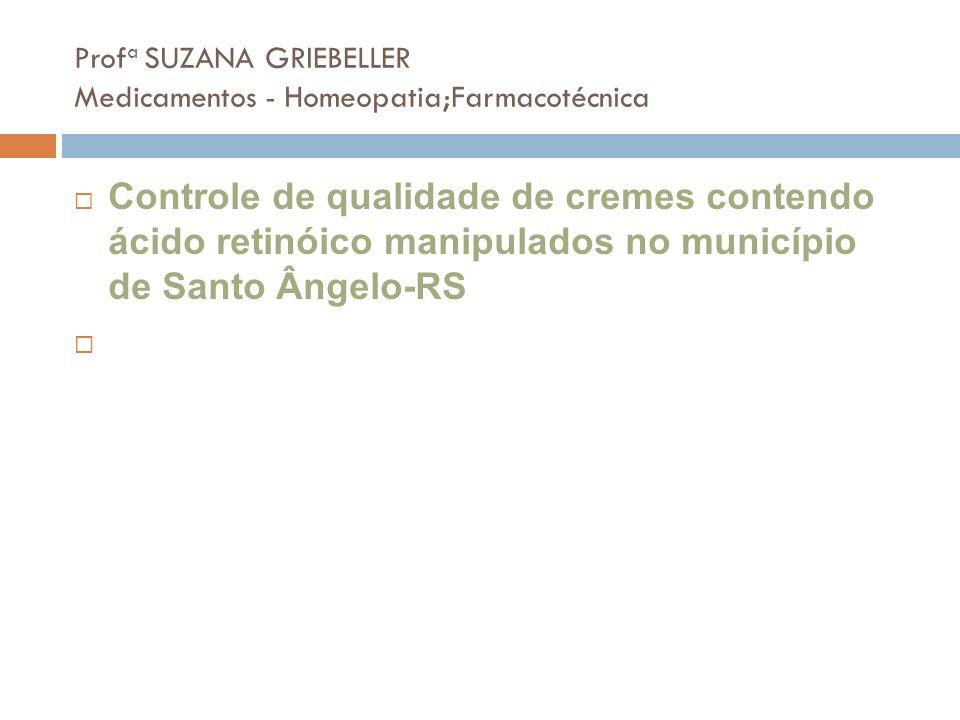 Profa SUZANA GRIEBELLER Medicamentos - Homeopatia;Farmacotécnica