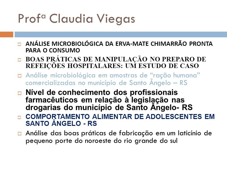Profa Claudia Viegas ANÁLISE MICROBIOLÓGICA DA ERVA-MATE CHIMARRÃO PRONTA PARA O CONSUMO.