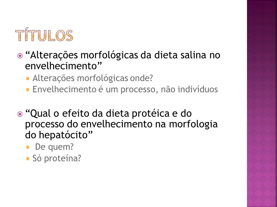 Títulos Alterações morfológicas da dieta salina no envelhecimento