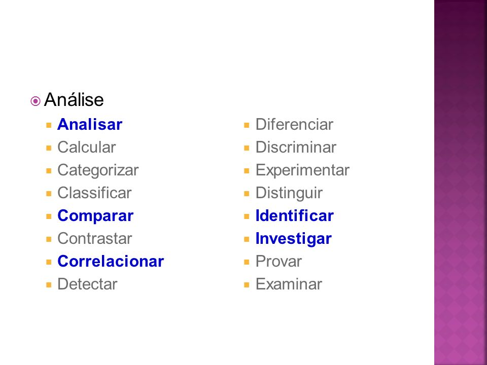 Análise Analisar Calcular Categorizar Classificar Comparar Contrastar