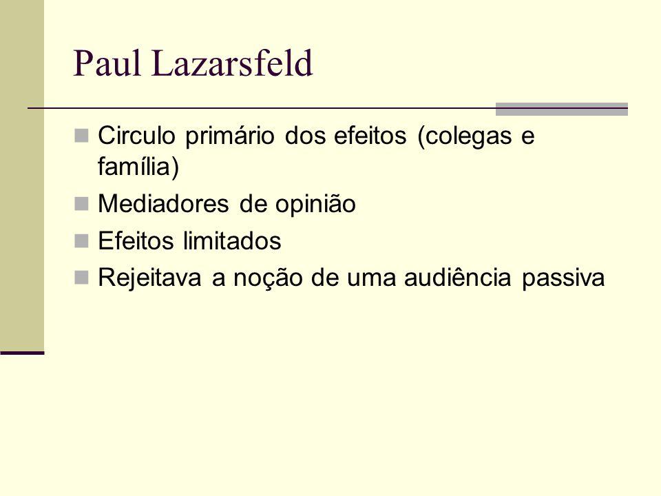 Paul Lazarsfeld Circulo primário dos efeitos (colegas e família)