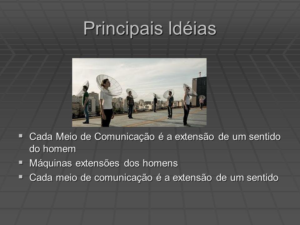 Principais Idéias Cada Meio de Comunicação é a extensão de um sentido do homem. Máquinas extensões dos homens.