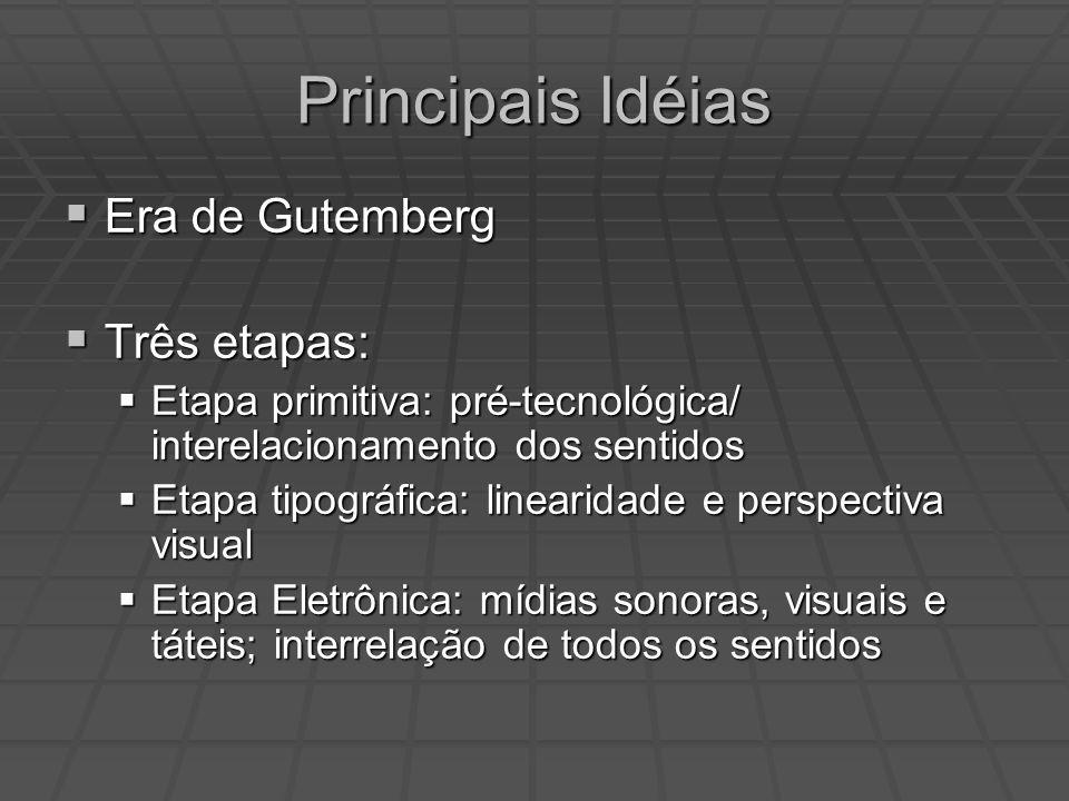 Principais Idéias Era de Gutemberg Três etapas: