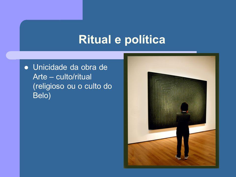 Ritual e política Unicidade da obra de Arte – culto/ritual (religioso ou o culto do Belo)