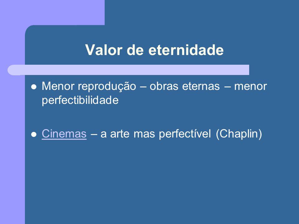 Valor de eternidade Menor reprodução – obras eternas – menor perfectibilidade.