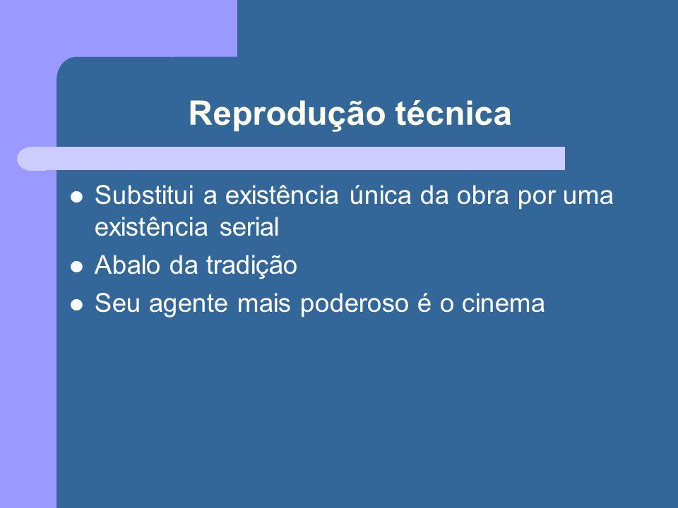Reprodução técnica Substitui a existência única da obra por uma existência serial. Abalo da tradição.