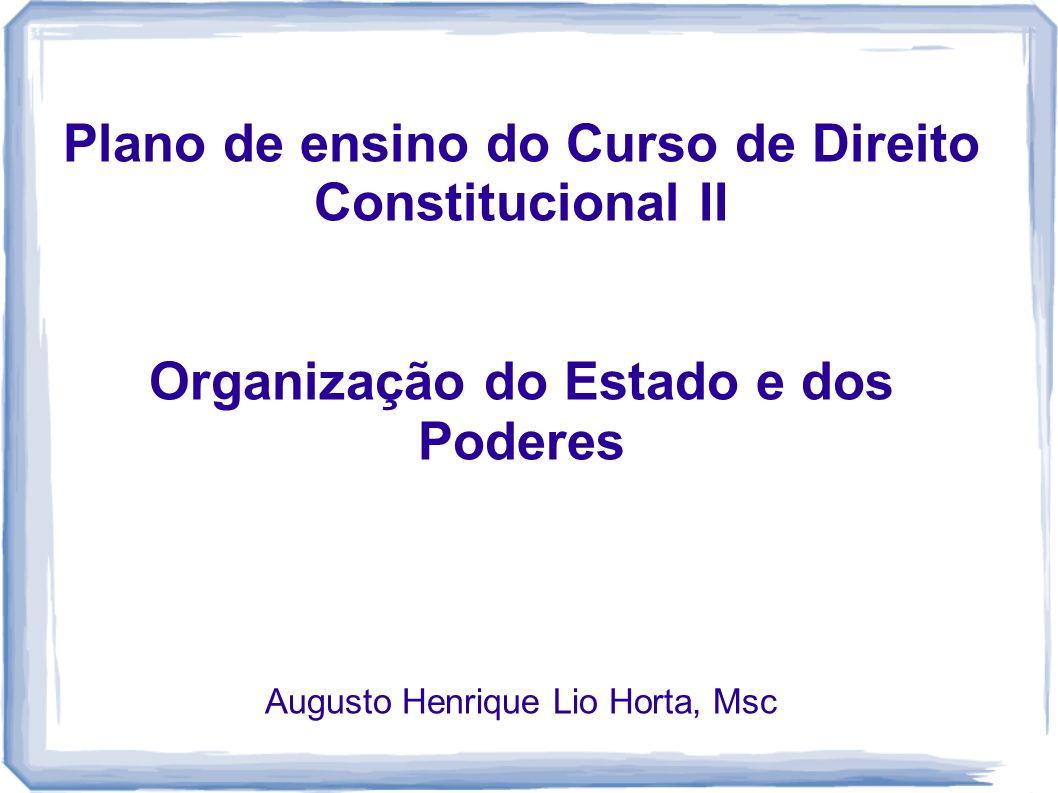Plano de ensino do Curso de Direito Constitucional II