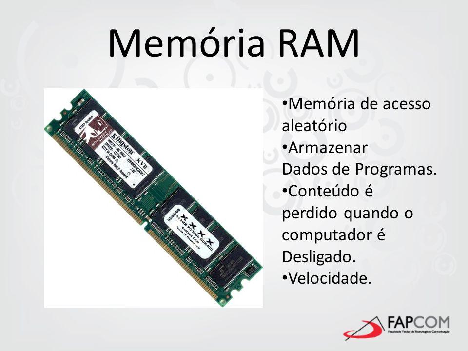 Memória RAM Memória de acesso aleatório Armazenar Dados de Programas.