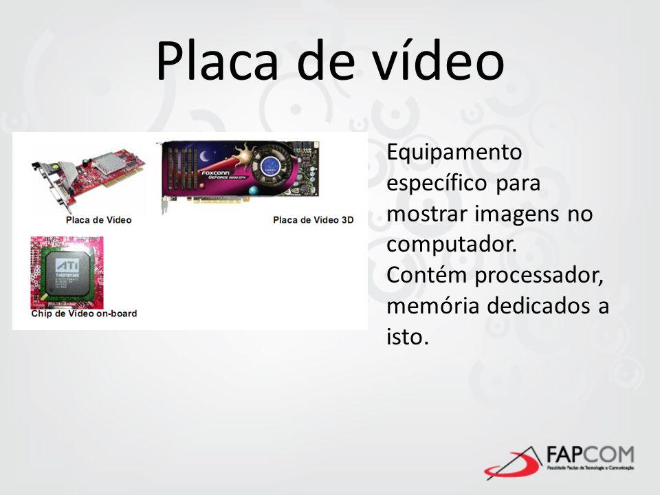 Placa de vídeoEquipamento específico para mostrar imagens no computador.