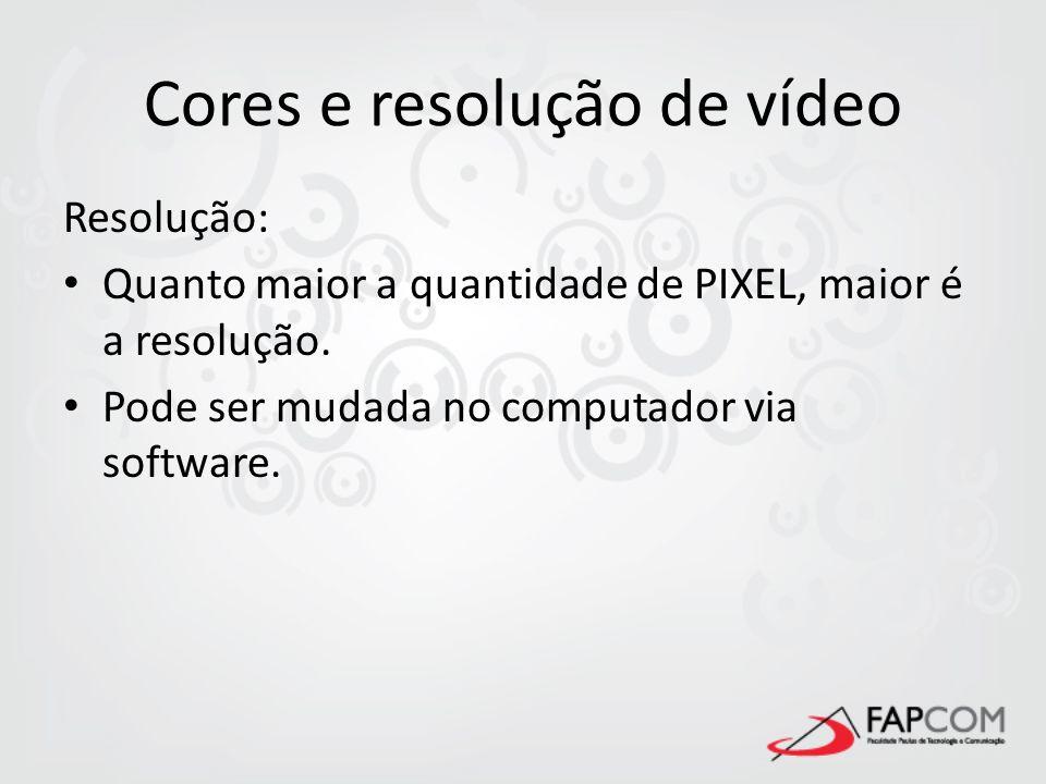 Cores e resolução de vídeo