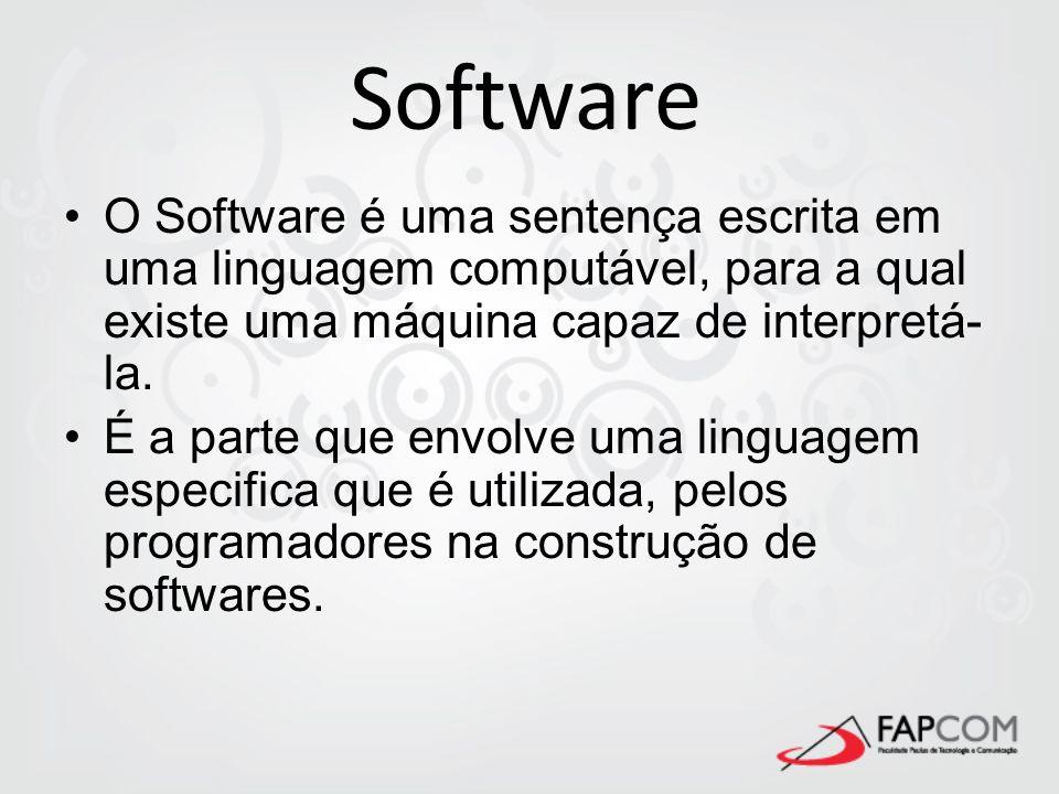 Software O Software é uma sentença escrita em uma linguagem computável, para a qual existe uma máquina capaz de interpretá-la.