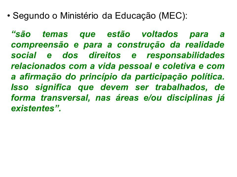 Segundo o Ministério da Educação (MEC):