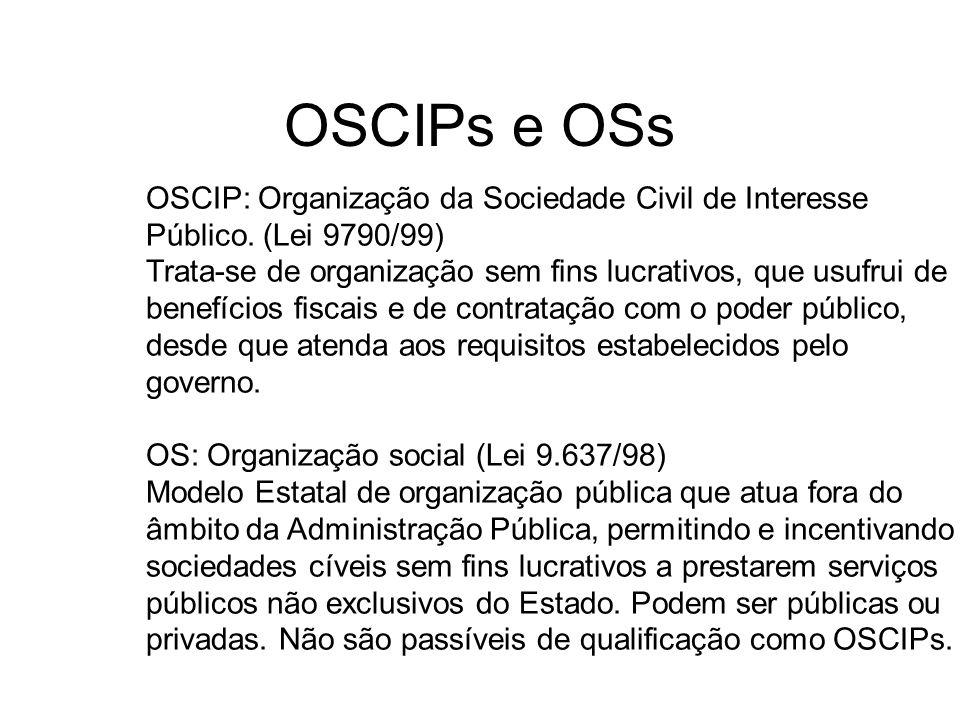 OSCIPs e OSs OSCIP: Organização da Sociedade Civil de Interesse