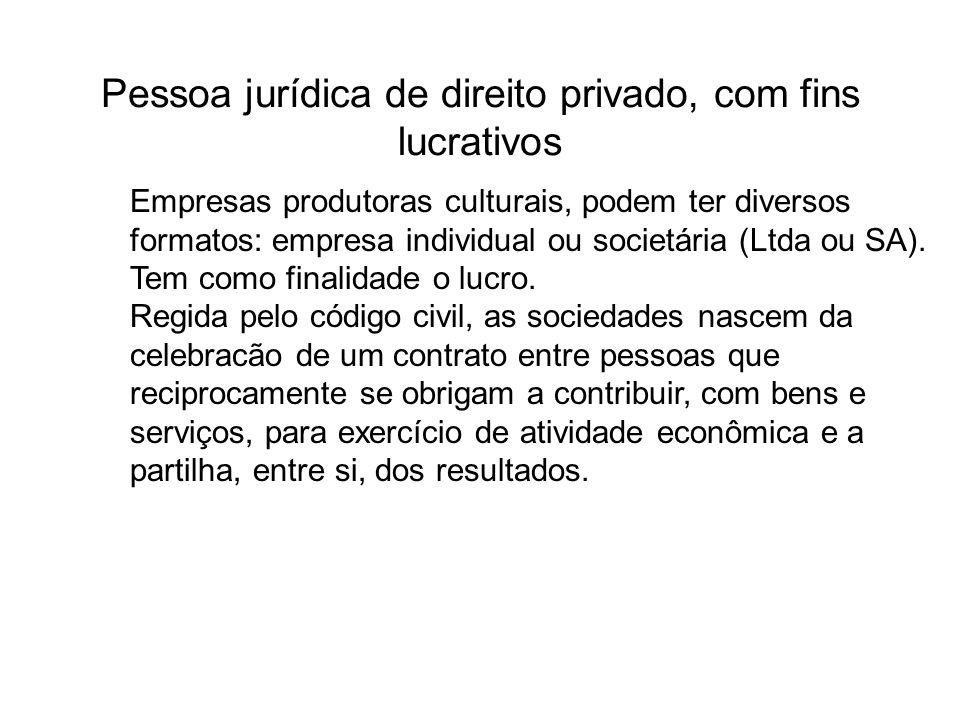 Pessoa jurídica de direito privado, com fins lucrativos