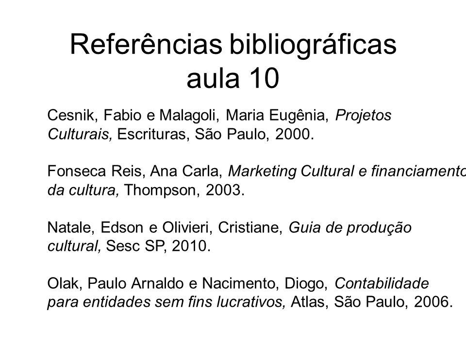 Referências bibliográficas aula 10