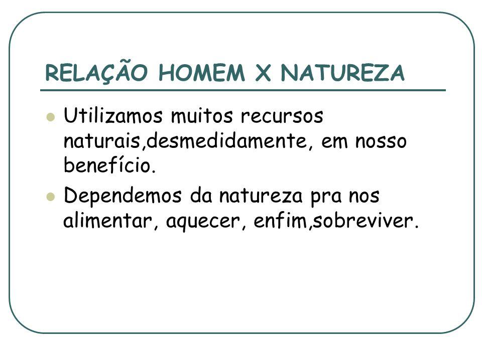 RELAÇÃO HOMEM X NATUREZA