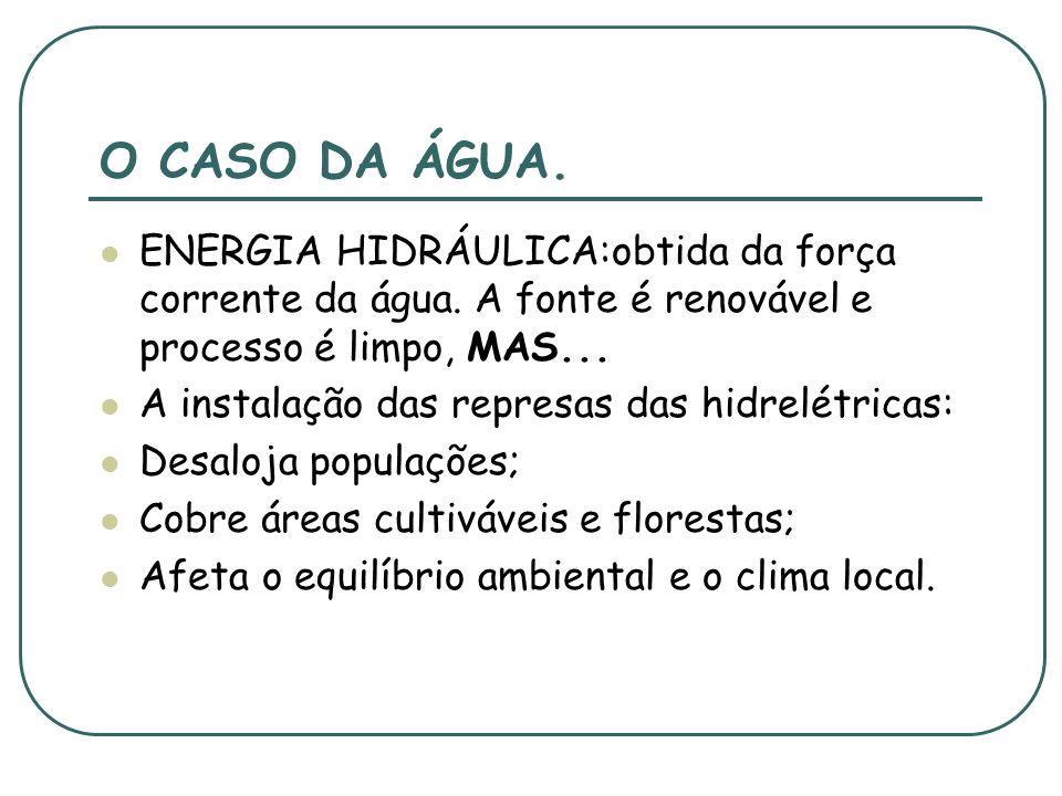O CASO DA ÁGUA.ENERGIA HIDRÁULICA:obtida da força corrente da água. A fonte é renovável e processo é limpo, MAS...