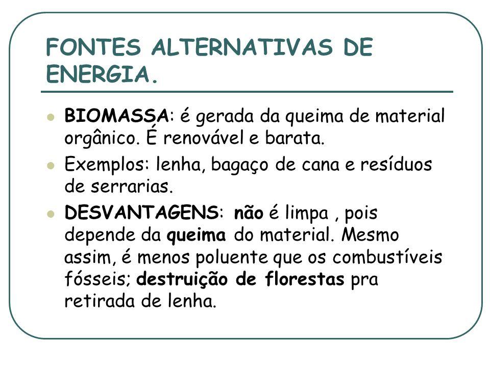 FONTES ALTERNATIVAS DE ENERGIA.