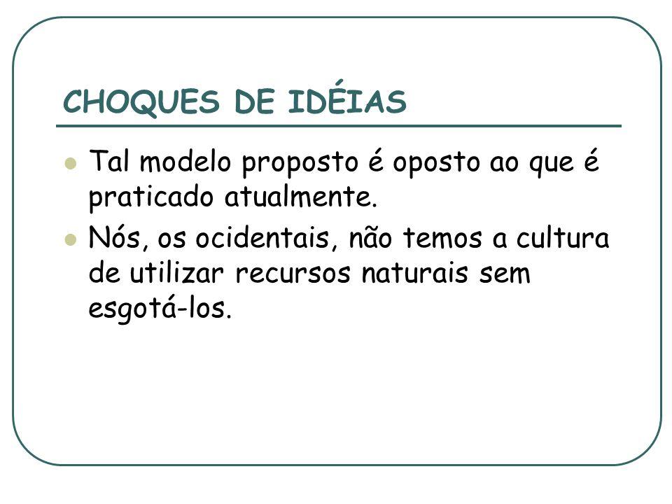 CHOQUES DE IDÉIAS Tal modelo proposto é oposto ao que é praticado atualmente.