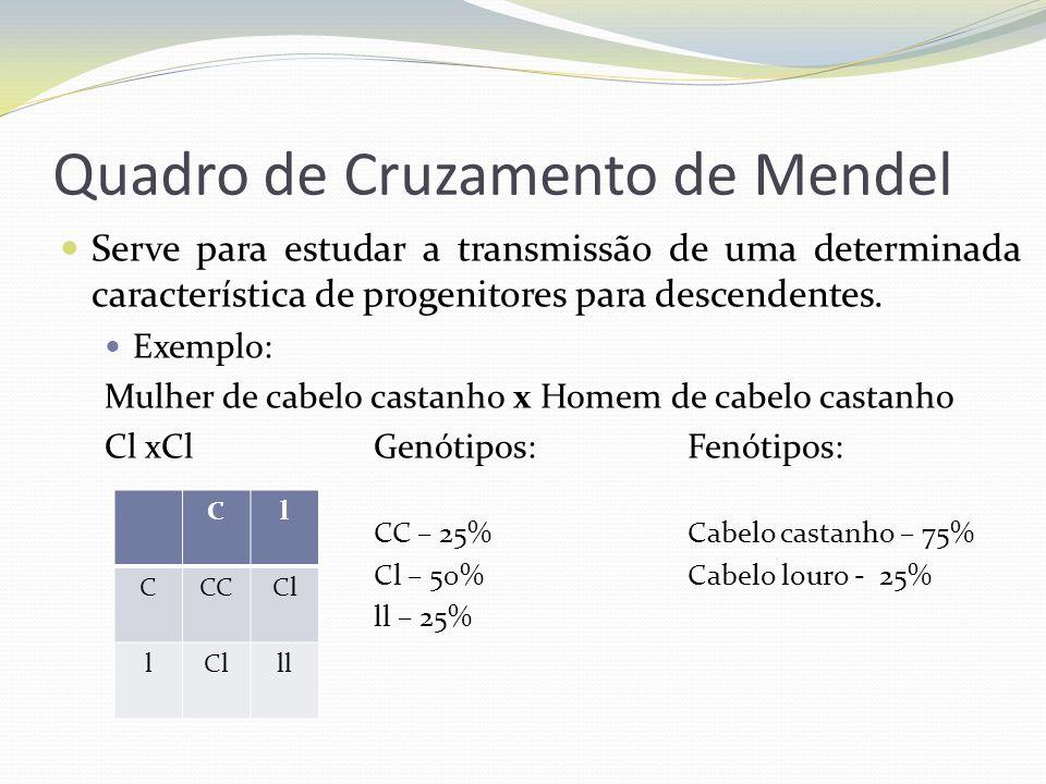 Quadro de Cruzamento de Mendel