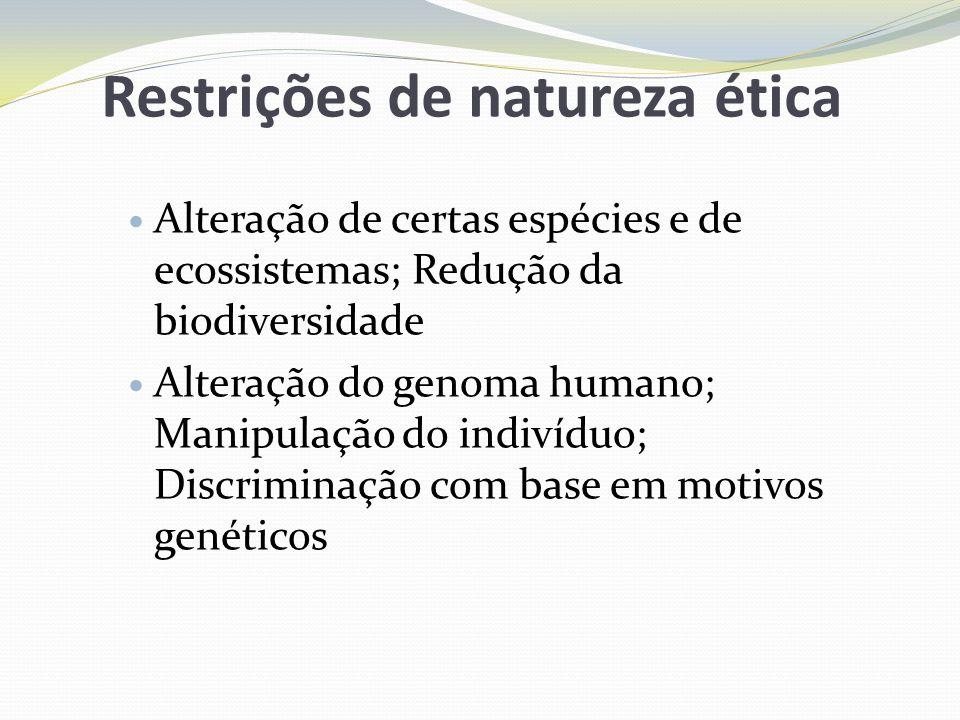 Restrições de natureza ética