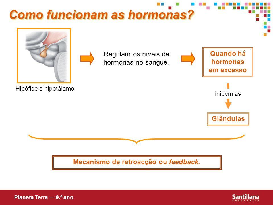 Quando há hormonas em excesso Mecanismo de retroacção ou feedback.