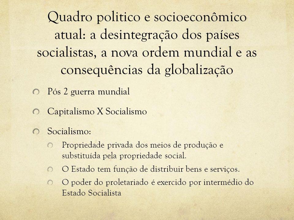 Quadro politico e socioeconômico atual: a desintegração dos países socialistas, a nova ordem mundial e as consequências da globalização