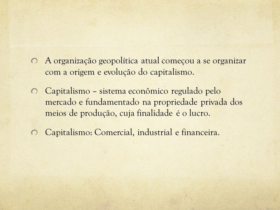 A organização geopolítica atual começou a se organizar com a origem e evolução do capitalismo.