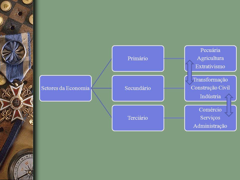 Setores da Economia Primário. Extrativismo. Agricultura. Pecuária. Secundário. Transformação. Construção Civil.
