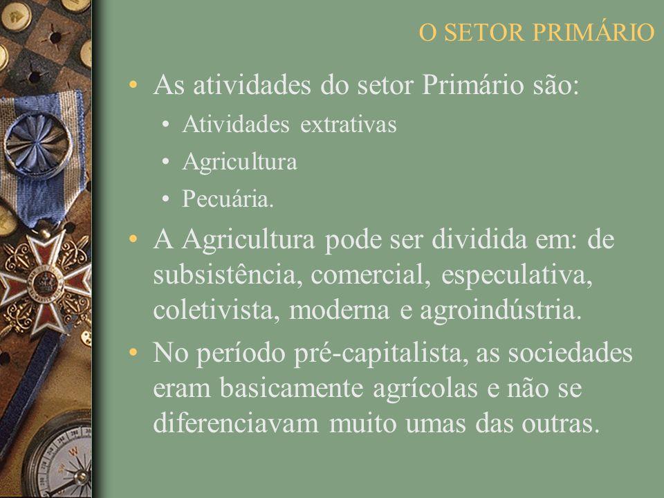 As atividades do setor Primário são: