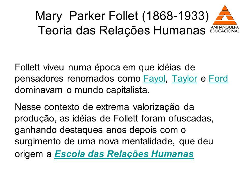 Mary Parker Follet (1868-1933) Teoria das Relações Humanas