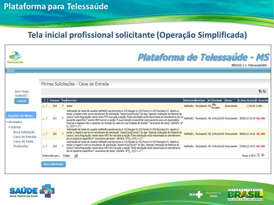 Tela inicial profissional solicitante (Operação Simplificada)