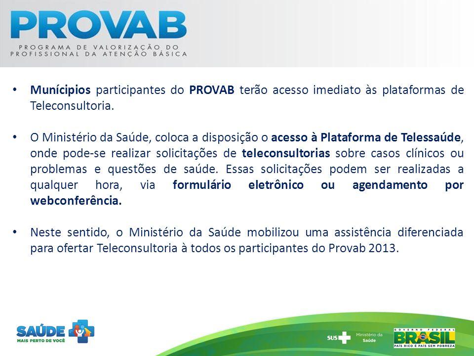 Munícipios participantes do PROVAB terão acesso imediato às plataformas de Teleconsultoria.
