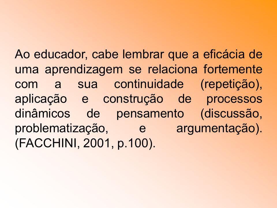 Ao educador, cabe lembrar que a eficácia de uma aprendizagem se relaciona fortemente com a sua continuidade (repetição), aplicação e construção de processos dinâmicos de pensamento (discussão, problematização, e argumentação).