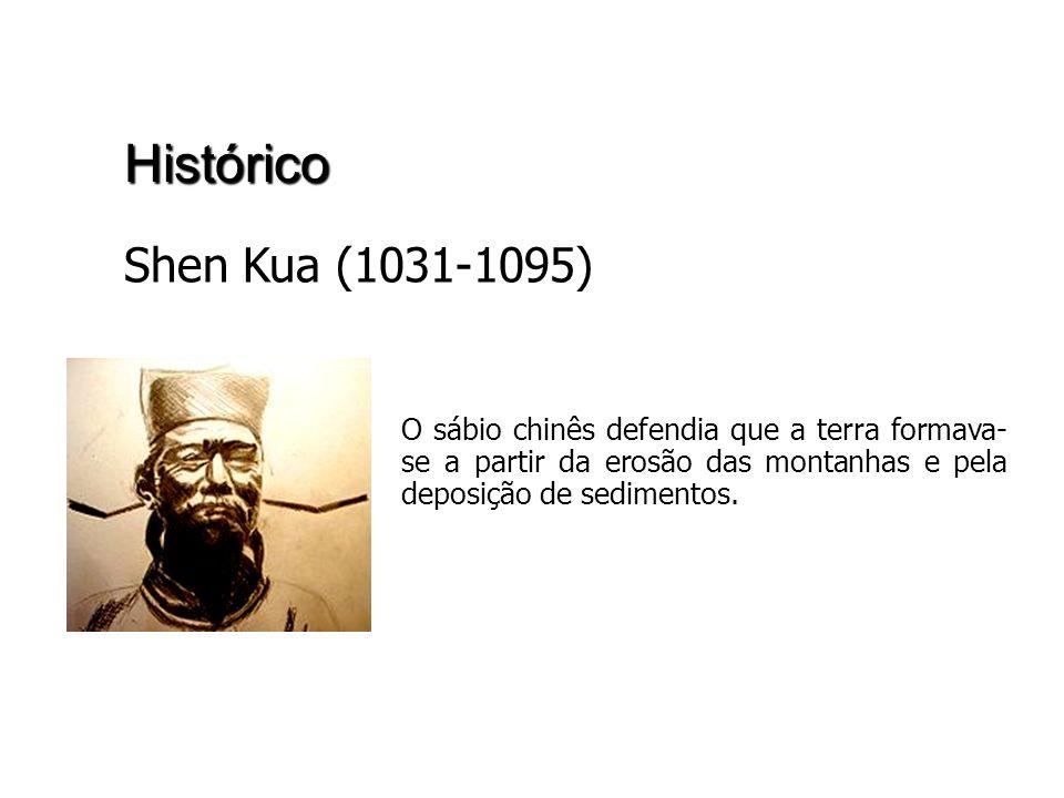 Histórico Shen Kua (1031-1095) O sábio chinês defendia que a terra formava-se a partir da erosão das montanhas e pela deposição de sedimentos.