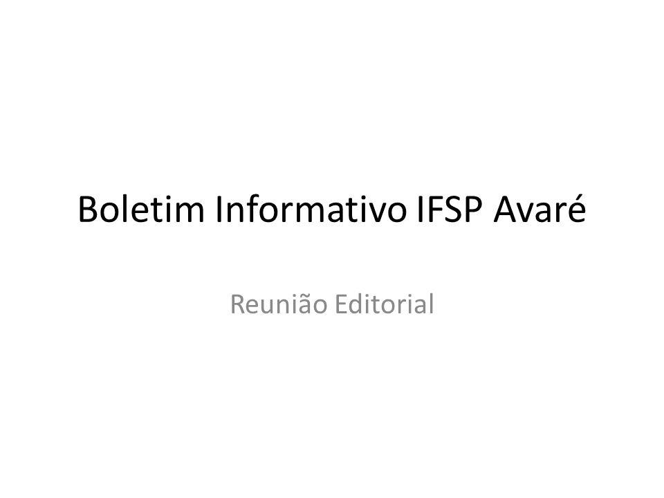 Boletim Informativo IFSP Avaré