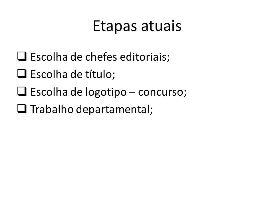 Etapas atuais Escolha de chefes editoriais; Escolha de título;