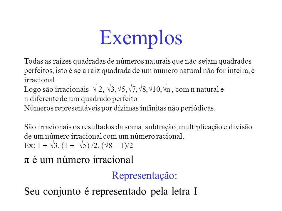 Exemplos π é um número irracional Representação: