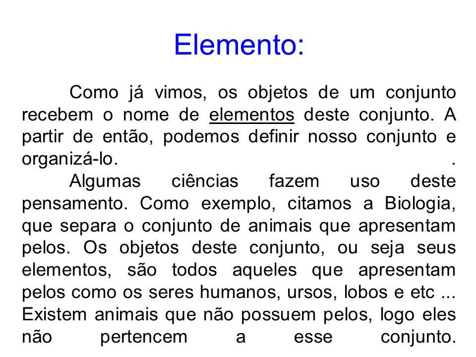 Elemento: Como já vimos, os objetos de um conjunto recebem o nome de elementos deste conjunto.