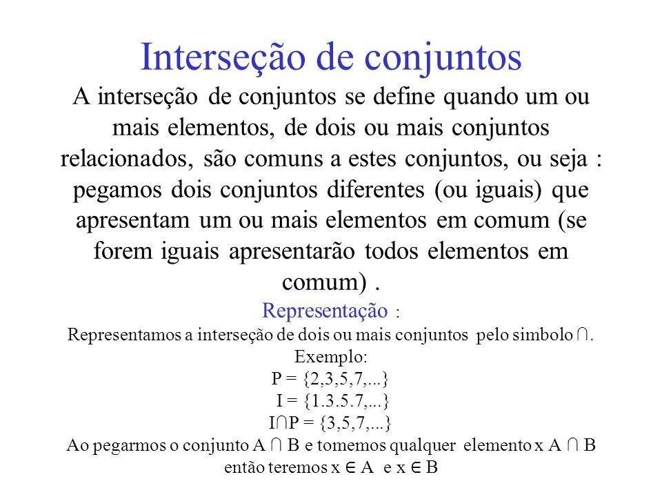 Interseção de conjuntos A interseção de conjuntos se define quando um ou mais elementos, de dois ou mais conjuntos relacionados, são comuns a estes conjuntos, ou seja : pegamos dois conjuntos diferentes (ou iguais) que apresentam um ou mais elementos em comum (se forem iguais apresentarão todos elementos em comum) .