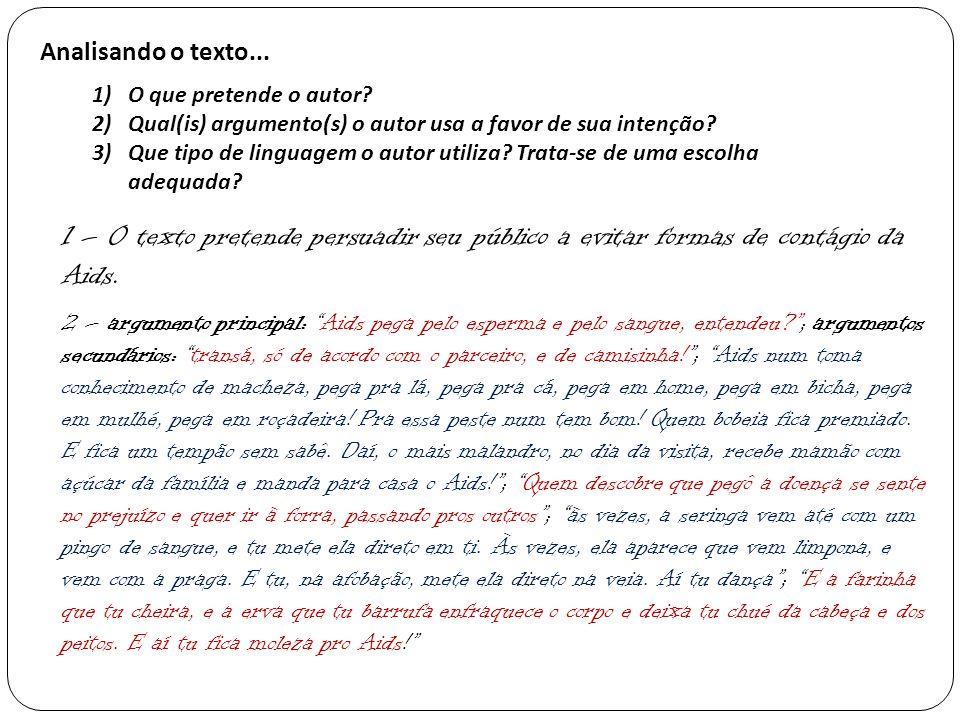 Analisando o texto... O que pretende o autor Qual(is) argumento(s) o autor usa a favor de sua intenção