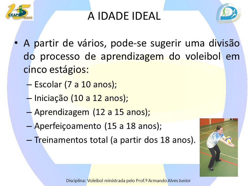 A IDADE IDEAL A partir de vários, pode-se sugerir uma divisão do processo de aprendizagem do voleibol em cinco estágios: