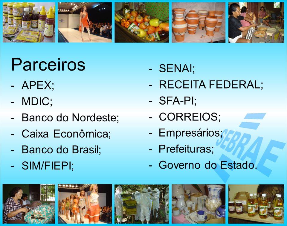 Parceiros SENAI; RECEITA FEDERAL; SFA-PI; APEX; MDIC; CORREIOS;