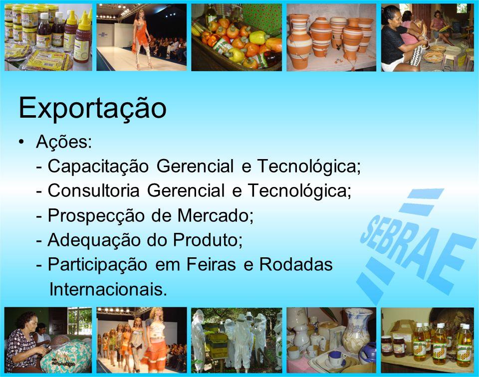 Exportação Ações: - Capacitação Gerencial e Tecnológica;